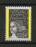 FRANCE  - 0,02 BRUN NOIR TYPE LUQUET 2 BARRES DE PHOSPHO  N° YT 3444** - 1997-04 Marianne Van De 14de Juli