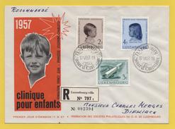 Luxemburg / Einschreiben Vom 17.6.1957 - Kinderklinik - Mi 569 -571 - Brieven En Documenten