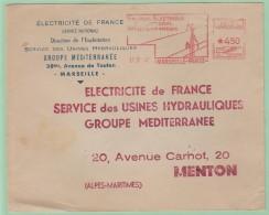 Fr18. France EMA    EDF   Service Des Usines Hydrauliques    Marseille  17.4.47 - Storia Postale