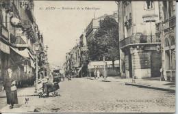 CP - 47 - Agen - Boulevard De La République  Dos Cachet Dépot D'artillerie  - 1917 - Agen