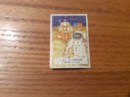 """Ancienne étiquette De Boîte D´allumettes ** SEITA """"L.M. Juillet 69 - Marche Sur La Lune"""" (espace, Chromo) - Boites D'allumettes - Etiquettes"""