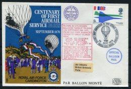1970 GB Royal Air Force Flight Cover. BFPS RAF Cardington, Paris Siege Balloon RAF Northolt - 1952-.... (Elizabeth II)