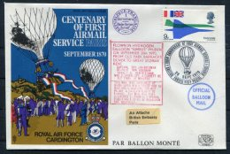 1970 GB Royal Air Force Flight Cover. BFPS RAF Cardington, Paris Seige Balloon RAF Northolt - 1952-.... (Elizabeth II)