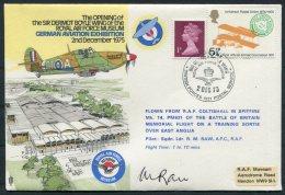 1975 GB Royal Air Force Flight Cover. BFPS  German Aviation Exhibition Spitfire Pilot SIGNED RAF Coltishall Hendon - 1952-.... (Elizabeth II)