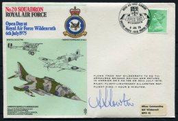 1975 GB Royal Air Force Flight Cover. RAF Wildenrath Germany No 20 Squadron Hurricane Harrier, 7th Armoured  Br. SIGNED - 1952-.... (Elizabeth II)