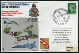 1974 France Reims GB Royal Air Force Flight Cover. No 342 (French) Squadron RAF Lorraine Blenheim Mirage Boston - 1952-.... (Elizabeth II)