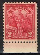 STATI UNITI - 1927 - 150° ANNIVERSARIO DELL'INDIPENDENZA DEL VERMONT - NUOVO MNH