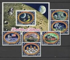 Liberia 1971 Space Apollo 14 Set Of 6 + S/s MNH - Space