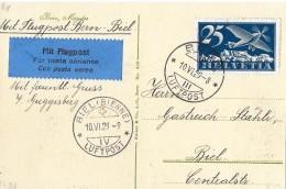 BERN - BIEL → Karte Berner Münster Mit SBK F5 Bern 10.06.1929 - Poste Aérienne