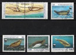 Turkmenistan Animaux Mammifères Marins (52) Série Complète De 6 Timbres Oblitérés Yv 40 à 43 - Turkménistan