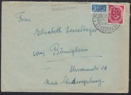 BRD 130 Auf Brief Mit Landpoststempel: Tierhaupten/über Schwäbisch Gmünd Postst: Schwäbisch Gmünd Silberstadt 28.4.1952 - BRD