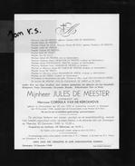 Devotie Doodsbrief Rouwbrief - Jules De Meester - Oostrozebeke 1870 - Zomergem 1948 - Décès