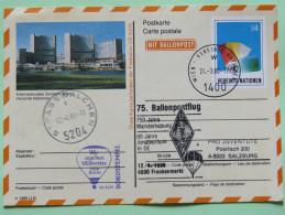 United Nations (Vienna) 1986 Special Cancel Strasswalchen Balloon On Card To Salzburg - Donaupark Building - Vienna – International Centre
