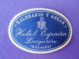 HOTEL RESIDENCIA PENSION ESPANA LANJARON GRANADA SPAIN LUGGAGE LABEL ETIQUETTE AUFKLEBER DECAL STICKER MADRID - Hotel Labels