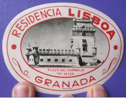 HOTEL MOTEL PENSION ALBERGO LISBOA GRANADA SPAIN TAG DECAL LUGGAGE LABEL ETIQUETTE AUFKLEBER - Hotel Labels