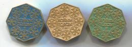 New Year, Neujahr - Christmas, Weihnachten, Russian (USSR) Vintage Pin Badge, Abzeichen, 3 Pcs, D 35 Mm - Navidad