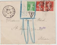1909 - ENVELOPPE De SAINT DIE (VOSGES) Pour STE MARIE AUX MINES AFFRANCHIE Avec TP HELVETIA -> TAXE 10c - Postage Due