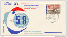 FIRST DAY COVER- WERELDTENTOONSTELLING TE BRUSSEL 1958- EXPO 1958- FRANSE DAG-26.09.1954.