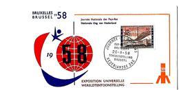 FIRST DAY COVER- EXPO 1958- WERELDTENTOONSTELLING TE BRUSSEL 1958- BELGIË- NEDERLANDSE DAG.