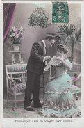 Carte Postale Ancienne Fantaisie -  Couple - Amoureux Sous Du Gui - Fantaisies