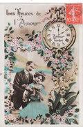 Carte Postale Ancienne Fantaisie -  Couple - Amoureux - Les Heures De L'amour - Fantaisies