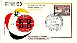 BELGIË- FIRST DAY COVER- EXPO 1958 TE BRUSSEL- DUITSE DAGEN.