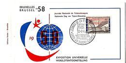 BELGIË- FIRST DAY COVER- EXPO 1958 TE BRUSSEL- DAGEN VAN TSJECHO-SLOVAKIJE.
