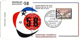 BELGIË- FIRST DAY COVER- EXPO 1958 TE BRUSSEL- DAGEN VAN DE U.S.A..