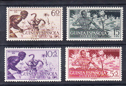 GUINEA 1954. EDIFIL Nº 334/337. PRO INDIGENAS. INDIGENAS CAZANDO  CON ARCO Y CON LANZA   SES410GRANDE - Guinea Española