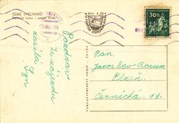 L1812 - Czechoslovakia (1961) Hrensko (machine Postmark - Violet!) Postcard: Czech Switzerland; Tariff: 30 H (Pernstejn) - Tschechoslowakei/CSSR