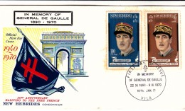 NOUVELLES-HEBRIDES 197O FDC (version Anglaise) DE GAULLE   /  7921 - FDC