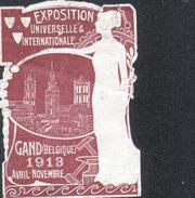 VIGNETTE ( SANS GOMME ) DE L'EXPOSITION DE GAND 1913, En L'état ( Une Déchirure ) - Expositions Universelles