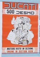 Ducati 500 Desmo 1976 Motore Manifesto Poster Originale-genuine Vintage Poster-affiche Originale-Originalposter - Altri