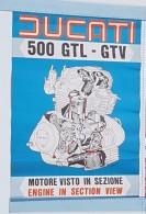 Ducati 500 GTL GTV 1976 Motore Manifesto Poster Originale-genuine Vintage Poster-affiche Originale-Originalposter - Plaques Publicitaires