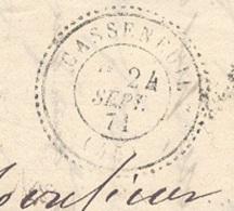 LOT ET GARONNE 47 CASSENEUIL LAC TAD Type 24 (utilisé De 8/70 à 11/71) Du 24/09/1871 GC 746 Sur N° 60 TTB - Marcophilie (Lettres)