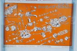 Ducati 860 1976 Motore Manifesto Poster Originale Concessionario-genuine Dealer Poster-affiche Originale-Originalposter - Altri