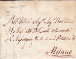 Pref. Mantova Per Milano, Interessante Contenuto Su Esperimenti Sulla Seta, Per Carlo Amoretti Scienziato Anno 1791 - ...-1850 Voorfilatelie