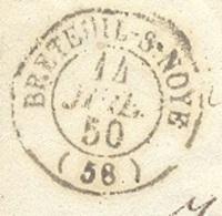 OISE 60 BRETEUIL SUR NOYE Env Vide TAD Type 15  Du 14/07/1850 Taxe 25 DT Boite Rurale N  TTB - Marcophilie (Lettres)