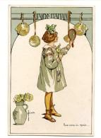 A 18773  -   Bussche  -  J'aide Maman, Nous Avons Du Monde.... - Fillette, Casseroles, Roses, Miroir.... Litho - Illustratoren & Fotografen