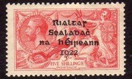 Ireland 1922 5/- Seahorse ´Rialtas´ Overprint, Dollard Printing, Lightly Hinged Mint (SG19) - Used Stamps