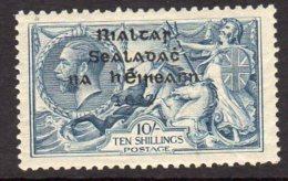 Ireland 1922 10/- Seahorse ´Rialtas´ Overprint, Dollard Printing, Lightly Hinged Mint (SG21) - Used Stamps