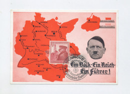 1939 3. Reich Sudetenlandanschluss  Farbige Propagandakarte Vs. Frankatur Mi 691 SST - Germania