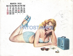 62649 ART ARTE WOMAN SENSUAL SWIMWEAR CALENDARY MARZO MARCH YEAR 1953 CARD NO POSTAL POSTCARD - Illustratoren & Fotografen