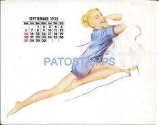 62651 ART ARTE WOMAN SENSUAL CALENDARY SEPTIEMBRE SEPTEMBER YEAR 1953 CARD NO POSTAL POSTCARD - Illustratoren & Fotografen