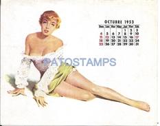 62653 ART ARTE WOMAN SENSUAL CALENDARY OCTUBRE OCTOBER YEAR 1953 CARD NO POSTAL POSTCARD - Illustratoren & Fotografen