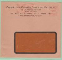 Fr19. France EMA   Caisse De Congés Payés Du Bâtiment    Paris - Storia Postale