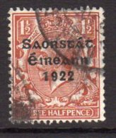 Ireland 1922-3 1½d ´Saorstat´ Overprint, Thom Printing, Used (SG54) - Used Stamps