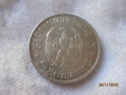 5 Reichmark 1934 G - [ 4] 1933-1945 : Troisième Reich