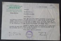 """ŠPORTSKI KLUB """"HAJDUK"""" - OSIJEK 1943, BRZOJAV, TELEGRAM,  FRANJO RUPNIK, NDH - Sports"""