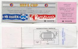 FOOTBALL / SOCCER / FUTBOL / CALCIO - UEFA CUP, NK OSIJEK CROATIA Vs SK SLAVIA PRAHA CZECH REPUBLIC, Ticket - Tickets D'entrée